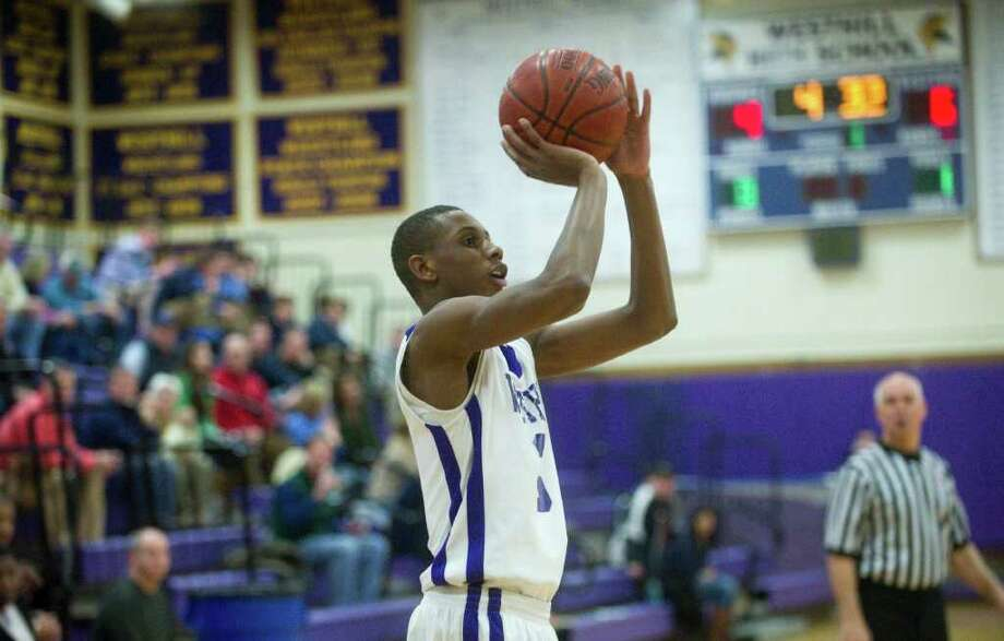 Westhill's Chris Walters on the court as Westhill High School hosts Wilton in a boys basketball game in Stamford, Conn., February 20, 2012. Photo: Keelin Daly / Stamford Advocate