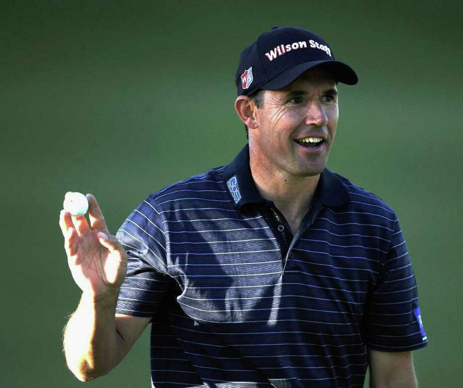 PACIFIC PALISADES, CA - FEBRUARY 16:  Padraig Harrington of Ireland reacts to his par on the third green during the first round of the Northern Trust Open at the Riviera Country Club on February 16, 2012 in Pacific Palisades, California.  (Photo by Harry How/Getty Images) Photo: Harry How / 2012 Getty Images