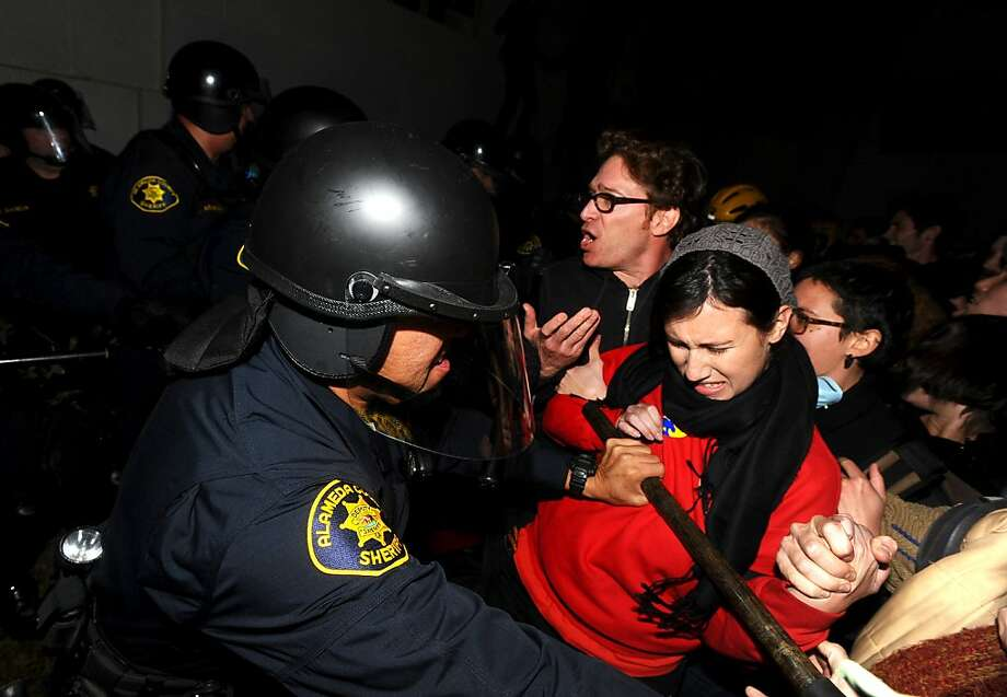 Police remove protesters occupying UC Berkeley on Wednesday, Nov. 9, 2011, in Berkeley, Calif. Photo: Noah Berger, Special To The Chronicle