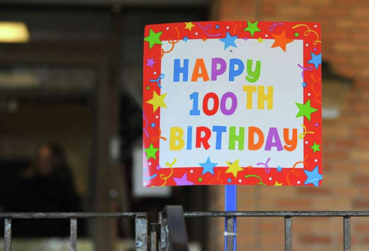 Sign outside the St. Louise House for the 100th birthday party for Sister Germaine Catlin on Monday, Feb. 20, 2012 in Menands, N.Y. Sister Gernaine was born on Feb. 20, 1912 in Troy. She is a retired elementary school teacher with the Daughters of Charity order. (Lori Van Buren / Times Union)