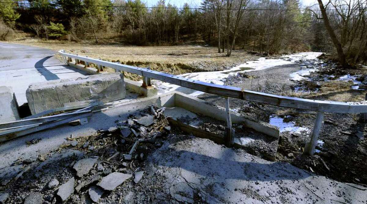 The Wolf Hill Road bridge in New Scotland is still closed Feb. 20, 2012, from the damage sustained by last summer storms. (Skip Dickstein / Times Union)