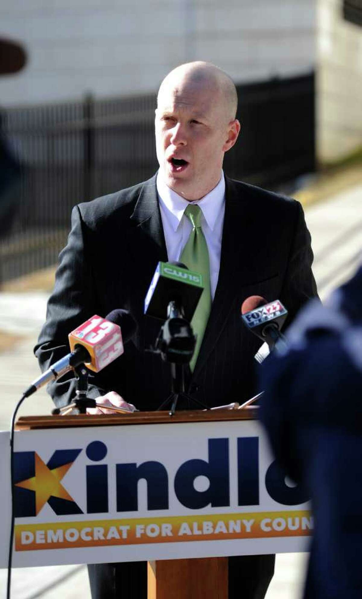 Lee Kindlon candidate for Albany County DA speaks at a press conference in Albany, N.Y. Feb. 20, 2012, regarding allegations of wrongdoing by DA David Soares in relation to an investigation of NXIVM. (Skip Dickstein / Times Union)