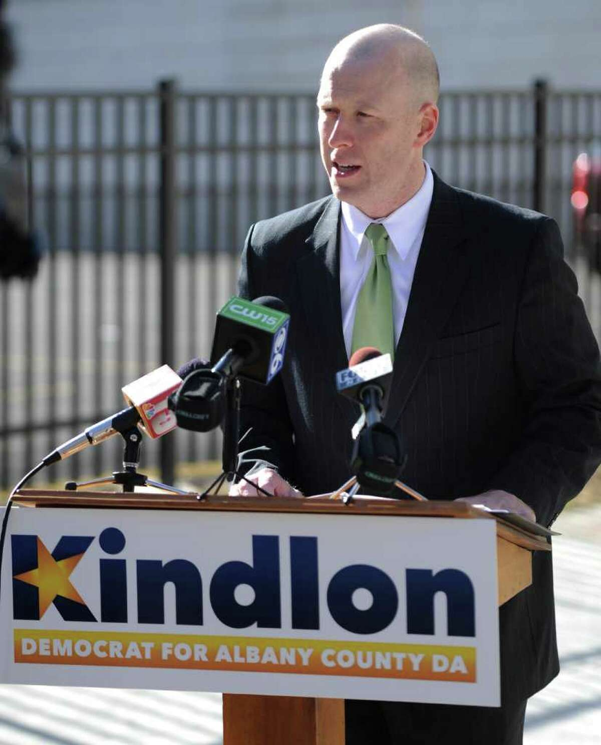 Lee Kindlon, candidate for Albany County DA, speaks at a press conference in Albany, N.Y. Feb. 20, 2012. Kindlon resigned his post in the county?s Alternate Public Defender?s Office Tuesday, a week after his party backed incumbent David Soares. (Skip Dickstein / Times Union archive)