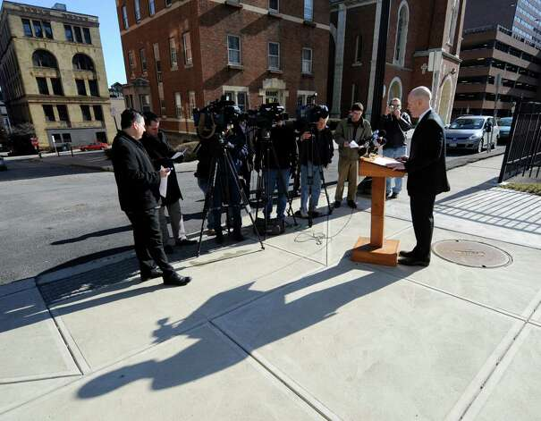 Lee Kindlon, candidate for Albany County DA, speaks at a press conference in Albany, N.Y. Feb. 20, 2012. Kindlon resigned his post in the county?s Alternate Public Defender?s Office Tuesday, a week after his party backed incumbent David Soares. (Skip Dickstein / Times Union archive) Photo: SKIP DICKSTEIN / 2011