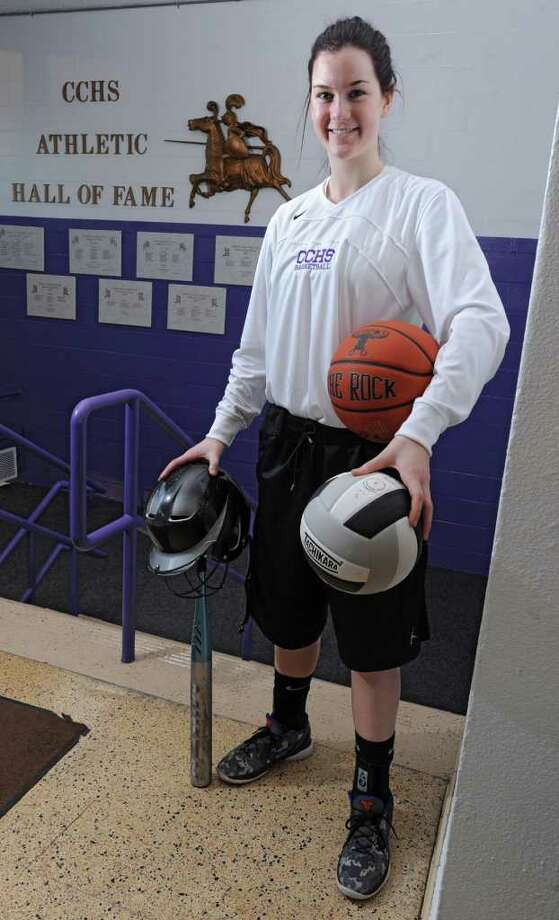 Catholic Central High School senior Hannah Kutny on Monday, Feb. 20, 2012 in Troy, N.Y. Kutny is the top female at the school in volleyball, basketball and softball. (Lori Van Buren / Times Union) Photo: Lori Van Buren