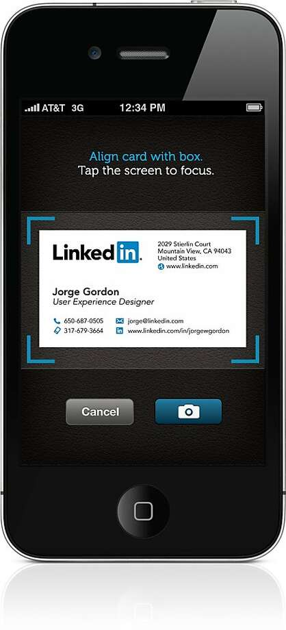 An undated screenshot of LinkedIn's new iphone app which takes photos of business cards and organizes them. Photo: LinkedIn
