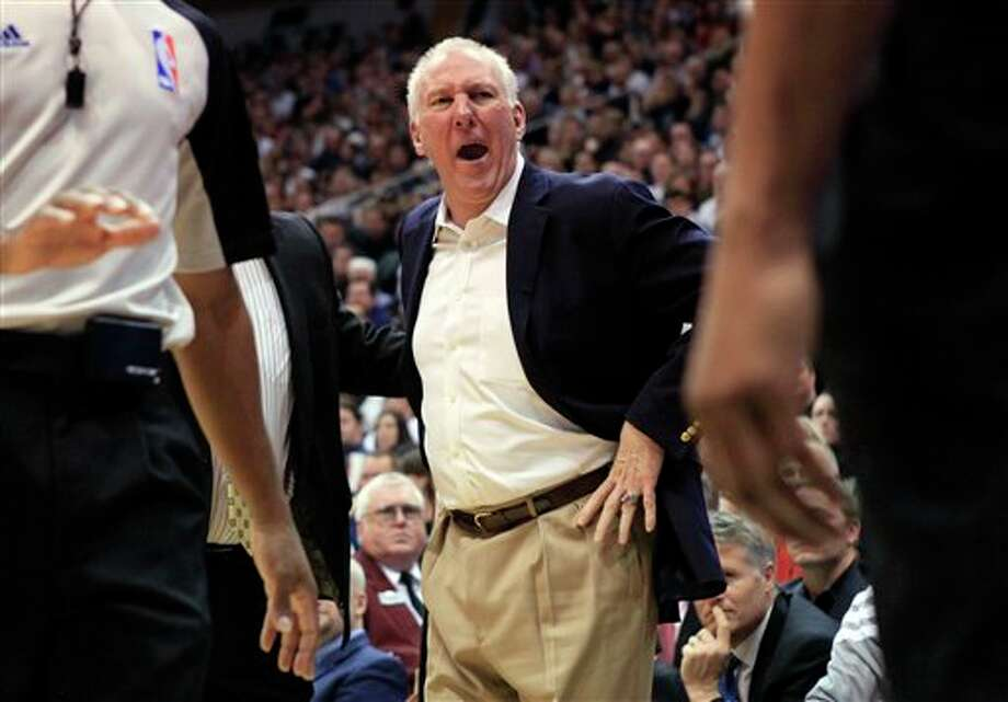 San Antonio Spurs head coach Gregg Popovich argues a call during the second half on a NBA basketball game against the Utah Jazz, Monday, Feb. 20, 2012, in Salt Lake City. The Spurs won 106-102. (AP Photo/Jim Urquhart) (AP)