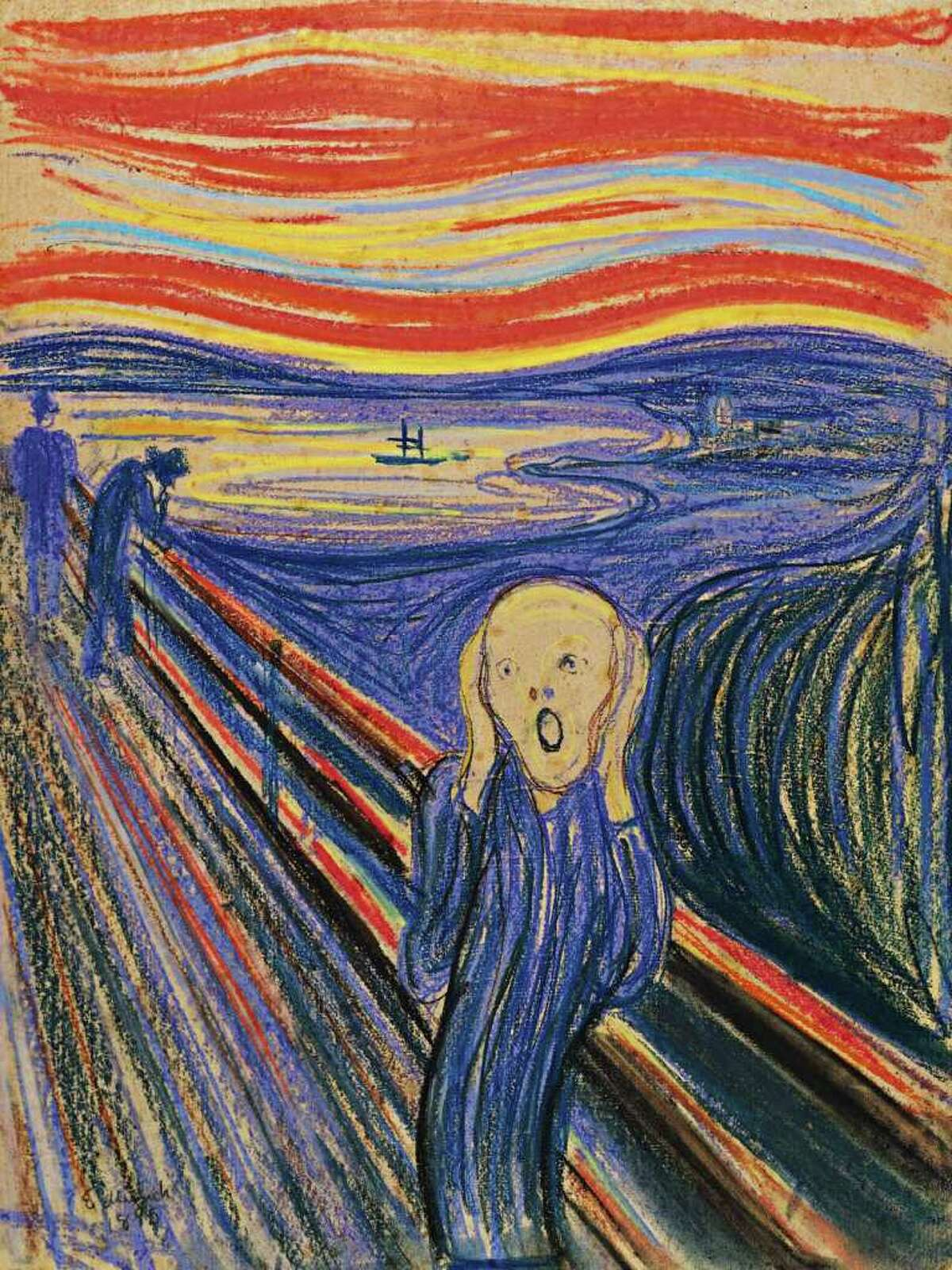 """Here's a look at some pricey paintings. This photo provided by Sotheby's shows """"The Scream"""" by Norwegian painter Edvard Munch. The work, which dates from 1895 and is one of four versions of the composition, will lead Sotheby's Impressionist & Modern Art Evening Sale in New York on May 2, 2012. The price could exceed $80 million."""