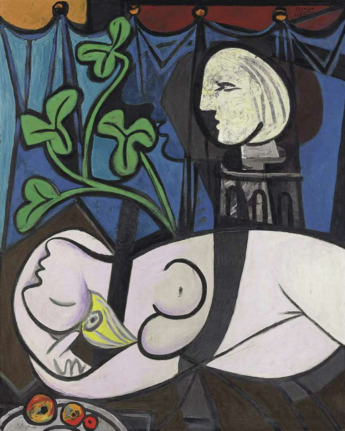 """Pablo Picasso's 1932 painting of his mistress Marie-Therese Walter, """"Nude, Green Leaves and Bust,"""" sold for $106.5 million at Christie's International in New York in May 2010. (Associated Press/Sotheby's)"""