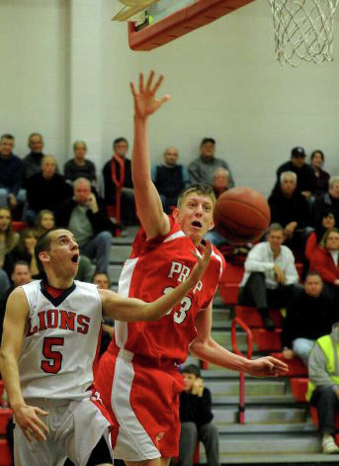 Fairfield Prep's Tim Butala, pictured in a Dec. 17, 2011 game against Foran, has stepped his game up right in time for the SCC and Class LL state tournaments. Photo: File Photo
