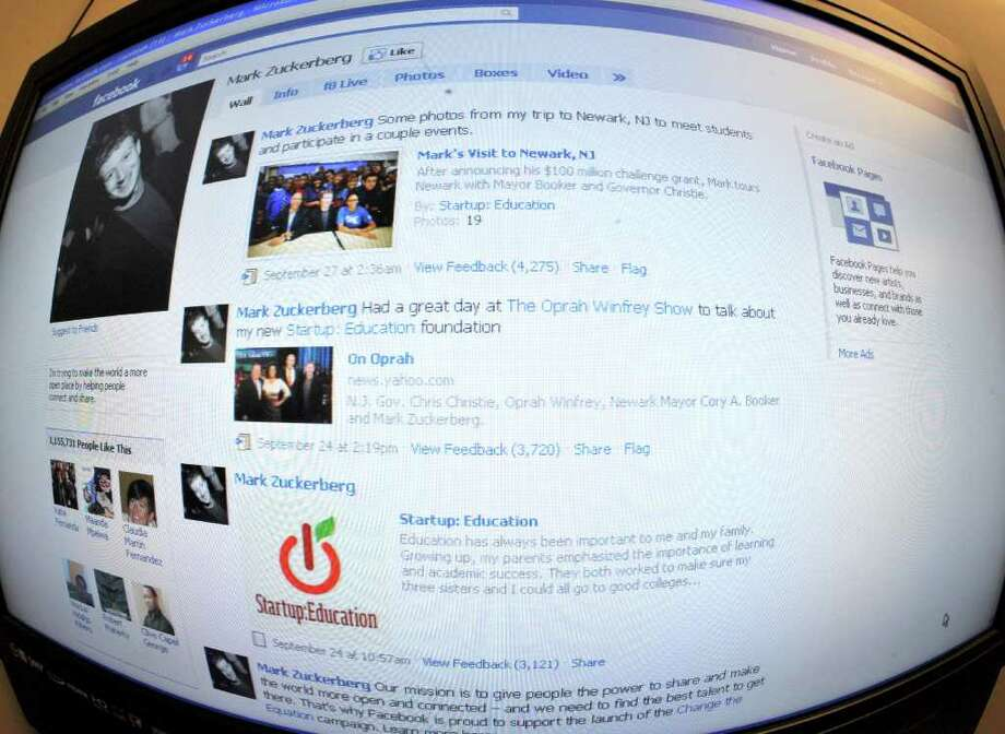 The home page for Facebook founder Mark Zuckerman is seen on October 18, 2010. Photo: KAREN BLEIER, AFP/Getty Images / 2010 AFP