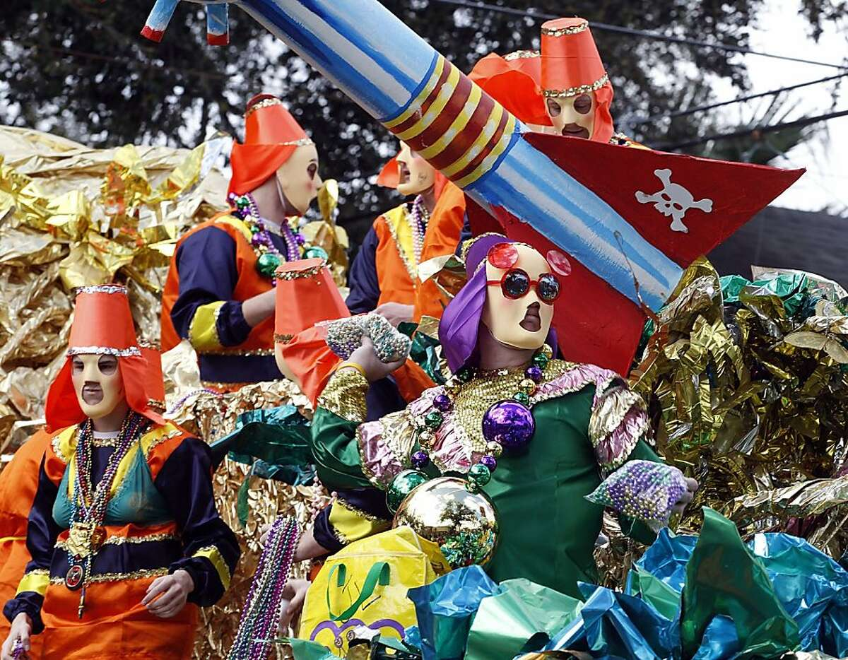 """The Krewe of Mid-City's """"Apocalypso:Party at the End of the World"""" parade rolls uptown on Sunday, Feb. 19, 2012 in New Orleans. (AP Photo/The Times-Picayune, Eliot Kamenitz) NO SALES , MAGS OUT, USA TODAY OUT"""