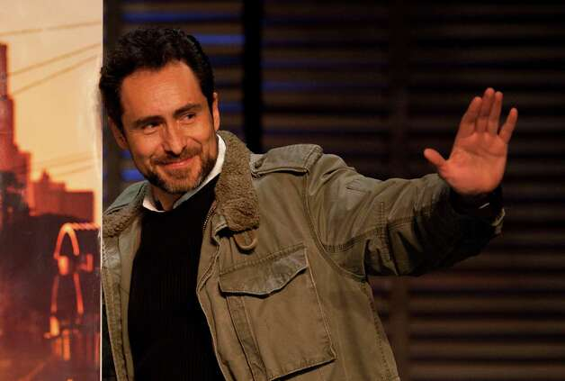 "Mexican actor Demian Bichir waves during a press conference in Mexico City, Wednesday Jan. 25, 2012.  Bichir was nominated for an Academy Award for best actor for his role in the film ""A Better Life."" The Oscars will be presented Feb. 26 at the Kodak Theatre in Los Angeles. Photo: AP"