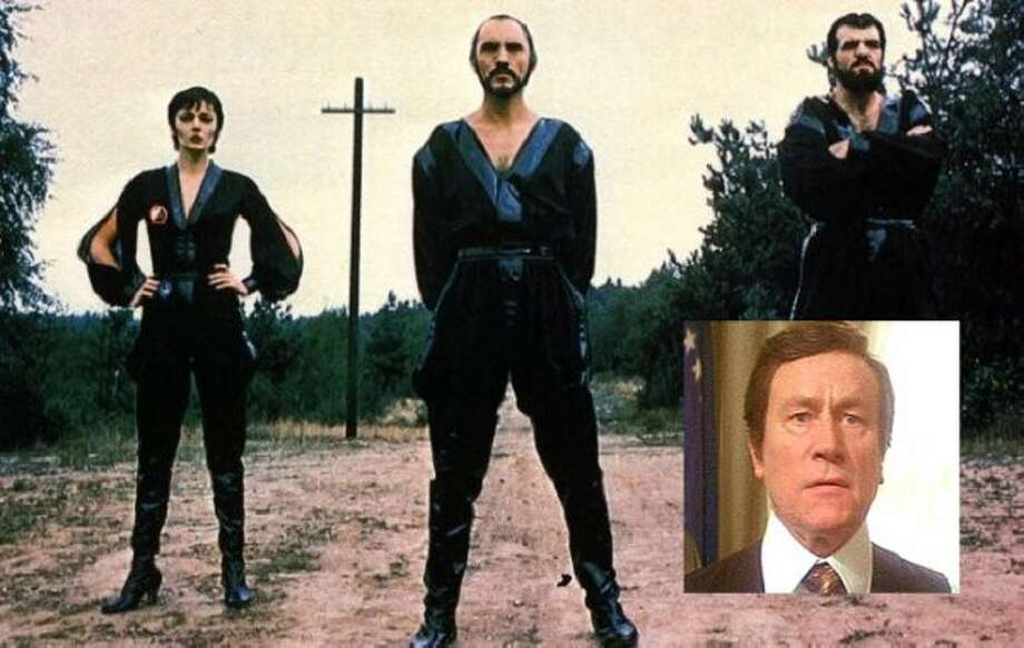 "8. The President (""Superman II,"" 1980): After the bad guys arrived, the president (played by E.G. Marshall) knelt before Zod without a debate, and groveled on national television for Superman to save him. Reelection chances are slim ... (Warner Bros.)"