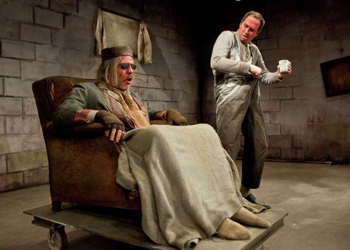 """Houston Chronicle - Endgame - Catastrophic Theatre's production of Samuel Beckett's """"Endgame."""" The production is being staged at DiverseWorks, 1117 East Freeway, Houston, TX. L-R: Greg Dean as Hamm and Troy Schulze as Clov"""