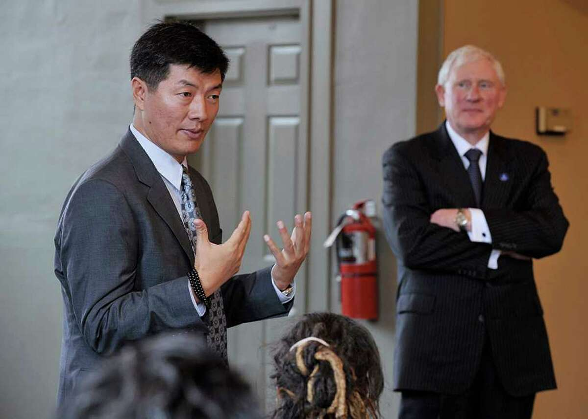 Dr. Lobsang Sangay, Prime Minister of Tibet, discusses the plight of his people during the annual President's Lecture address Tuesday at Western Connecticut State University in Danbury. WestConn President James W. Schmotter is right. Please credit Peggy Stewart/ photographer
