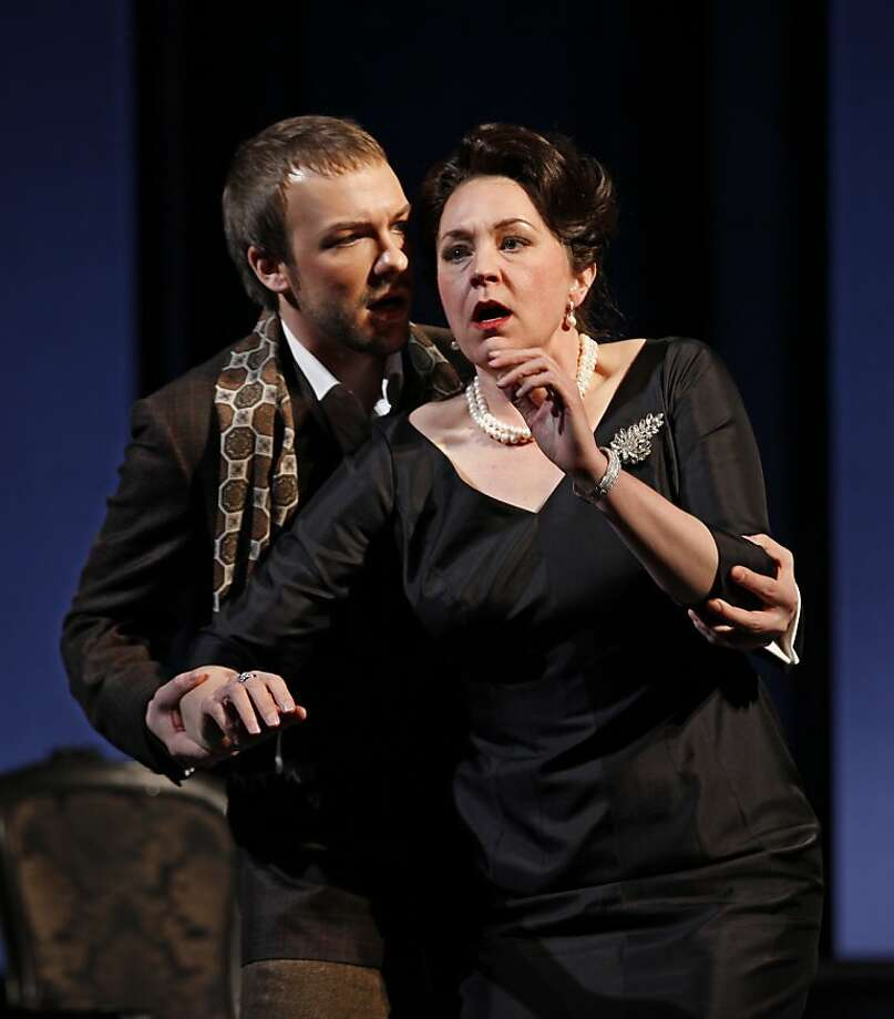 """In this Feb. 17, 2012 photo provided by the City Opera, Melody Moore performs as Regine with Taylor Staytonas Andre, during a dress rehearsal of Rufus Wainwright's """"Prima Donna"""" at the Brooklyn Academy of Music, in Brooklyn, New York. (AP Photo/City Opera, Carol Rosegg) Photo: Carol Rosegg, Associated Press"""