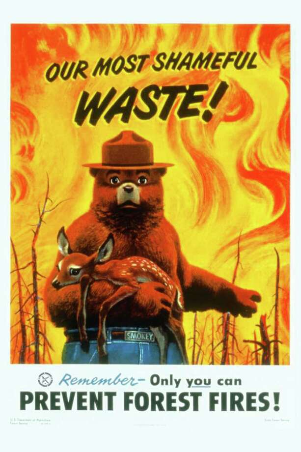 Smokey Bear, who debuted in 1944, is the longest-running campaign for the Ad Council. It says the ads have helped reduce the number of forest acres lost  to fire a year from 22 million to 8.4 million in 2000. Photo: Ad Council