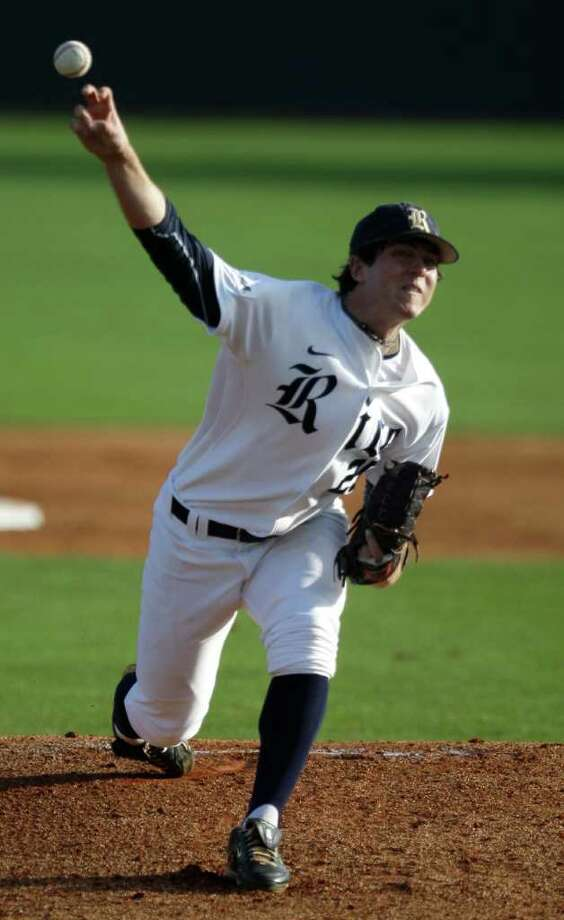 Rice University's Chase McDowell pitching against New Mexico State at Reckling Park Tuesday, Feb. 21, 2012, in Houston.  McDowell is coming off Tommy John surgery. Photo: Melissa Phillip, Houston Chronicle / © 2011 Houston Chronicle