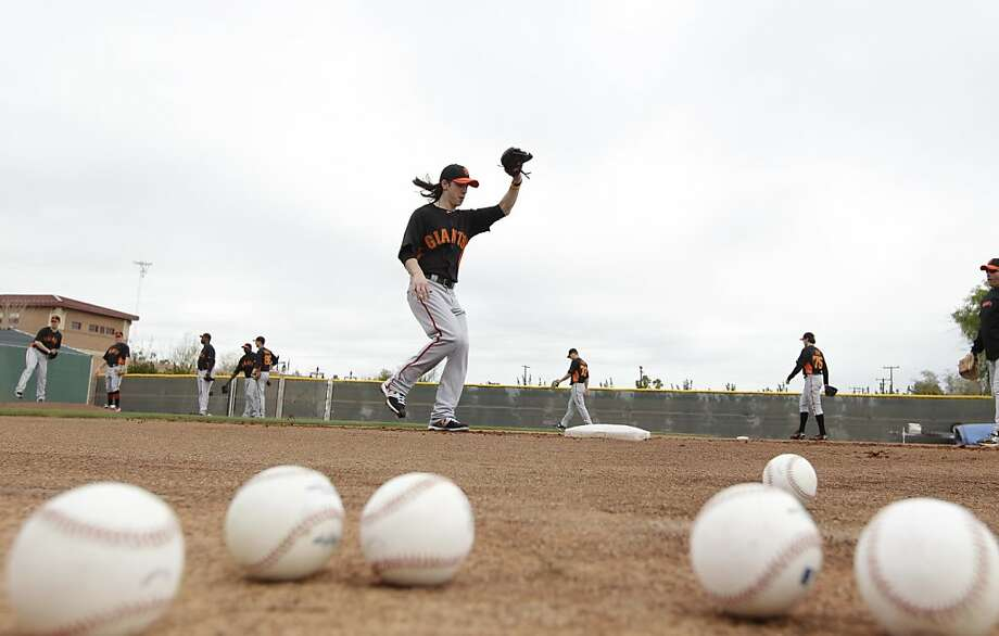 San Francisco Giants' Tim Lincecum during a spring training baseball workout Sunday, Feb. 19, 2012, in Scottsdale, Ariz. (AP Photo/Darron Cummings) Photo: Darron Cummings, Associated Press