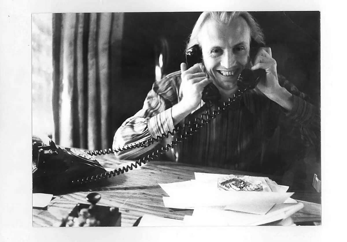 Jon McIntire, working the phones at the Grateful Dead's office in San Rafael.
