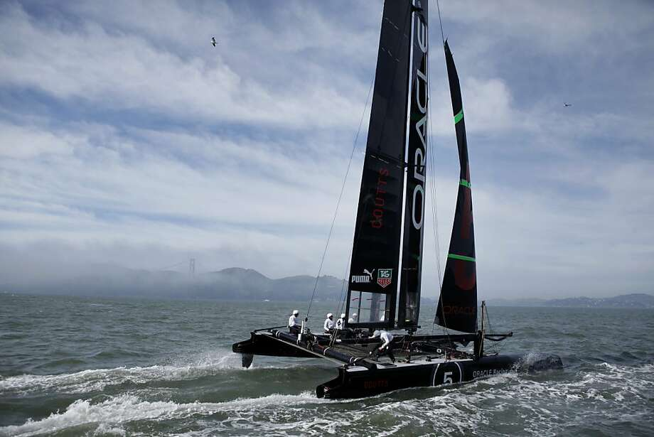One of Oracle Racing AC45 boats skippered by Russell Coutts practices along the waterfront,  Tuesday February 21, 2012, in San Francisco, Calif. Photo: Lacy Atkins, The Chronicle