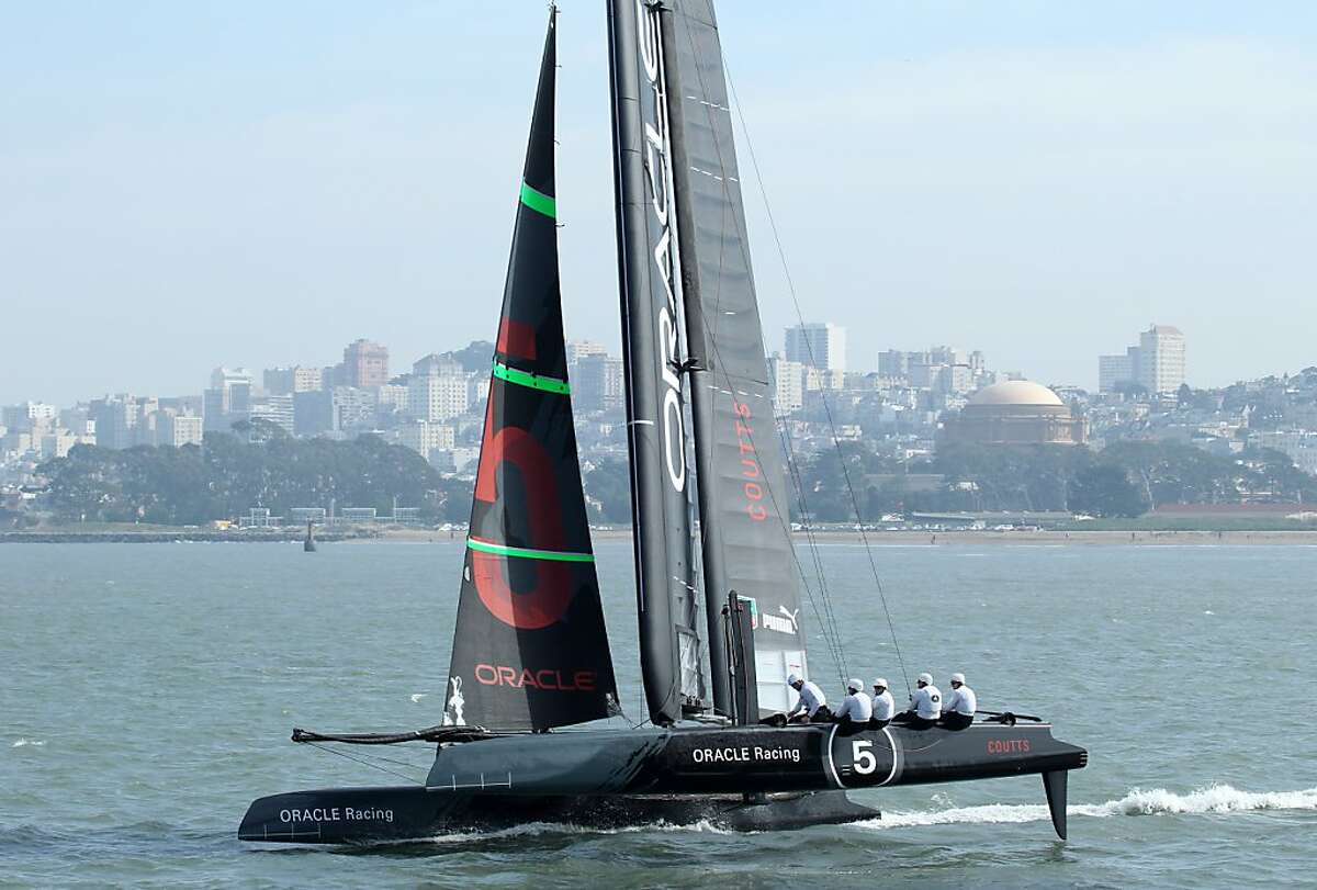 One of Oracle Racing AC45 boats skippered by Ruseell Coutts practices along the San Francisco waterfront, Tuesday February 21, 2012, in San Francisco, Calif.