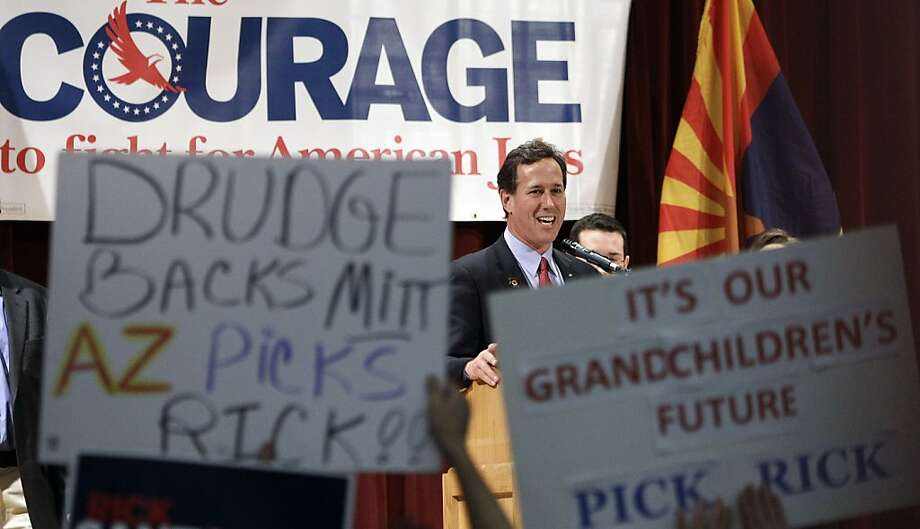 Republican presidential candidate, former Pennsylvania Sen. Rick Santorum speaks during a campaign rally at the El-Zaribah Shrine Auditorium, Tuesday, Feb. 21, 2012, in Phoenix, Arizona. Photo: Eric Gay, Associated Press