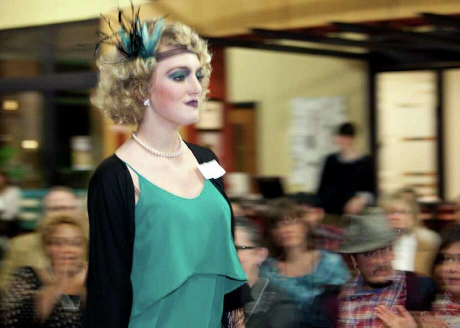 OTS/TRENDS/SALife/HEIDBRINK  A model walks the runway at a talent competition and fashion show of Roaring 20's hair design for untrained beauty experts at the Aveda Institute San Antonio. Photo by Jamie Karutz. Photo: Jamie Karutz / Special to the Express-News