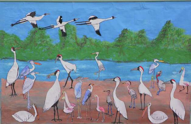 A mural featuring whooping cranes in all shapes and sizes that was created by Port Aransas youngsters is just one of the art displays that will be offered to the public during the 16th annual Port Aransas Whooping Crane Festival that started Thursday and continues through Sunday. Photo Courtesy of the Port Aransas Chamber of Commerce & Visitors Bureau Photo: Photo Courtesy Of The Port Aransas Chamber Of Commerce & Visitors Bureau