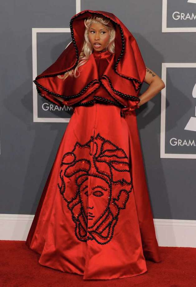 Nicki Minaj arrives at the 54th annual Grammy Awards on Sunday, Feb. 12, 2012 in Los Angeles. Photo: AP