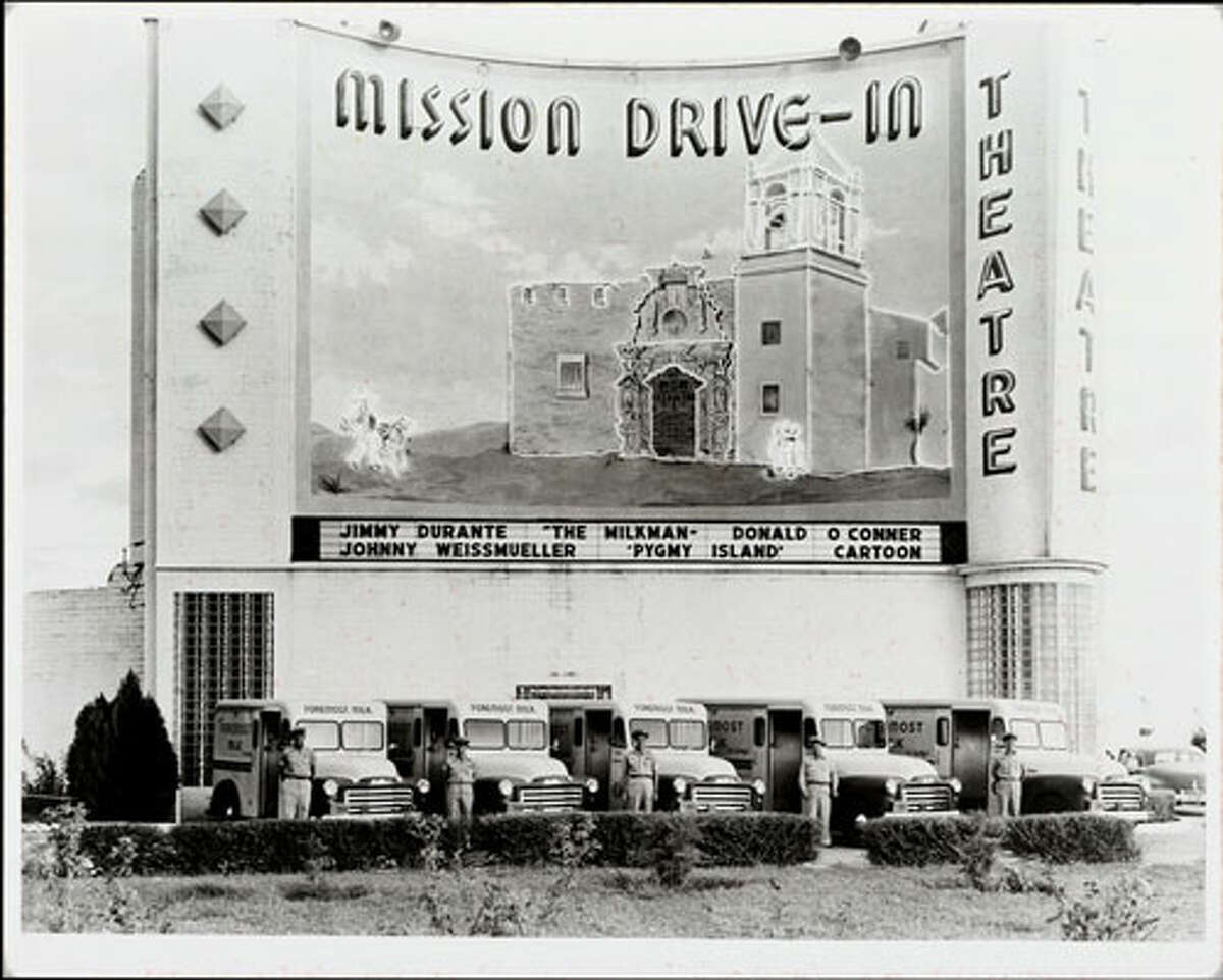 Public Art San Antonio is coordinating the recreation of the historic Mission Drive-In marquee mural, which was orginally installed around 1948. Courtesy photo