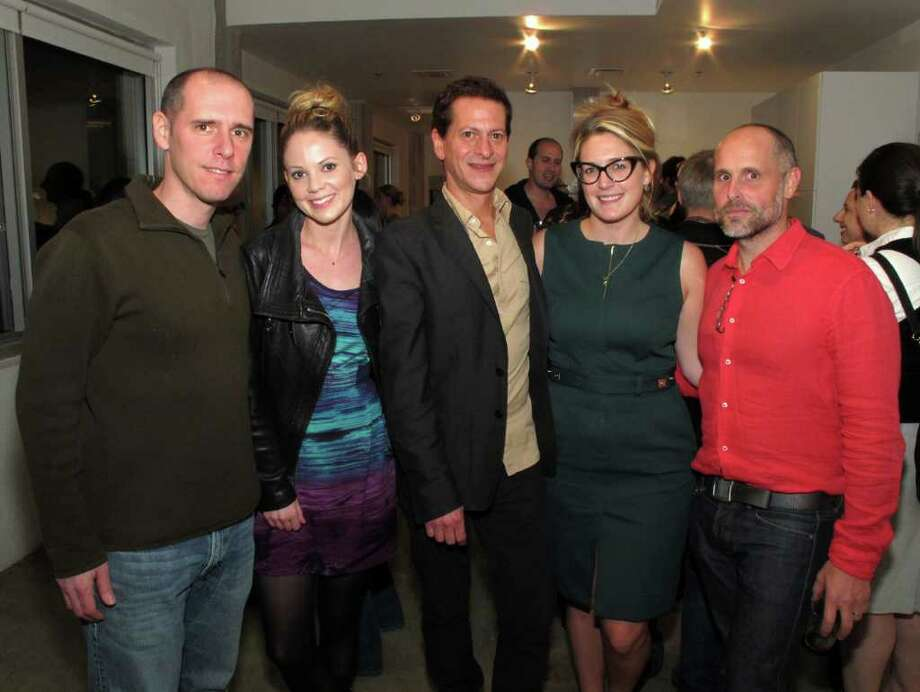 """New Works on Paper"": Artists Jonathan Faber (from left) and Sara  Frantz join gallery owner David Shelton and artists Kelly O'Connor and  Dan Sutherland during the opening reception at the David Shelton  Gallery.