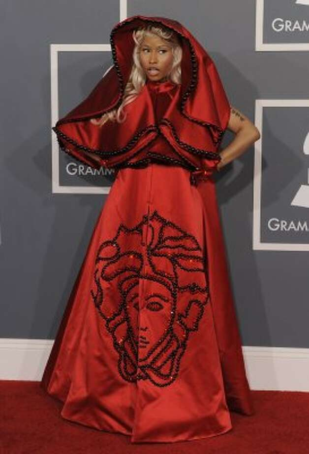 Nicki Minaj is nun, er, none the better in this outrageous habit of a get-up at the recent Grammys. (AP Photo/Chris Pizzello) (AP)