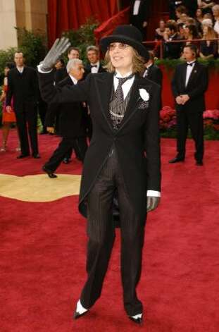 Diane Keaton impersonates Charlie Chaplin, the original Annie Hall, at the Academy Awards in 2004. (Photo by Vince Bucci/Getty Images) (Getty Images)