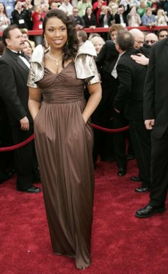 "Beam her up: Jennifer Hudson's Star Trek shrug by Oscar de la Renta in 2007 was less than dreamy for the ""Dreamgirls"" Oscar winner.  (Photo by TIMOTHY A. CLARY/AFP/Getty Images) (AFP/Getty Images)"