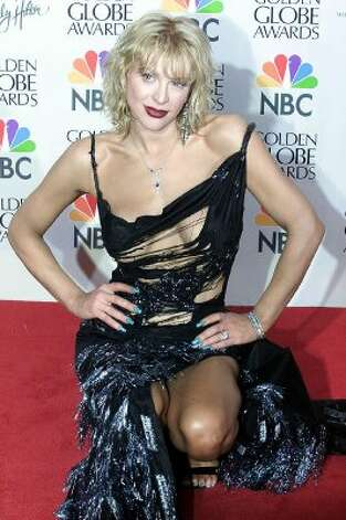 Courtney Love fell into a shredder on the way to the Golden Globes in 2000. (Photo by Vince Bucci/AFP/Getty Images) (Vince Bucci / AFP/Getty Images)