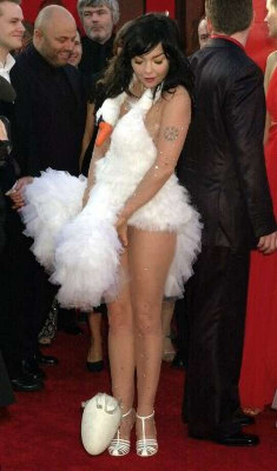 Talk about laying an egg! (It's at her feet.) That's what  Bjork delivered in this swan dive design at the Academy Awards in 2001. (AP Photo/Laura Rauch) (AP)