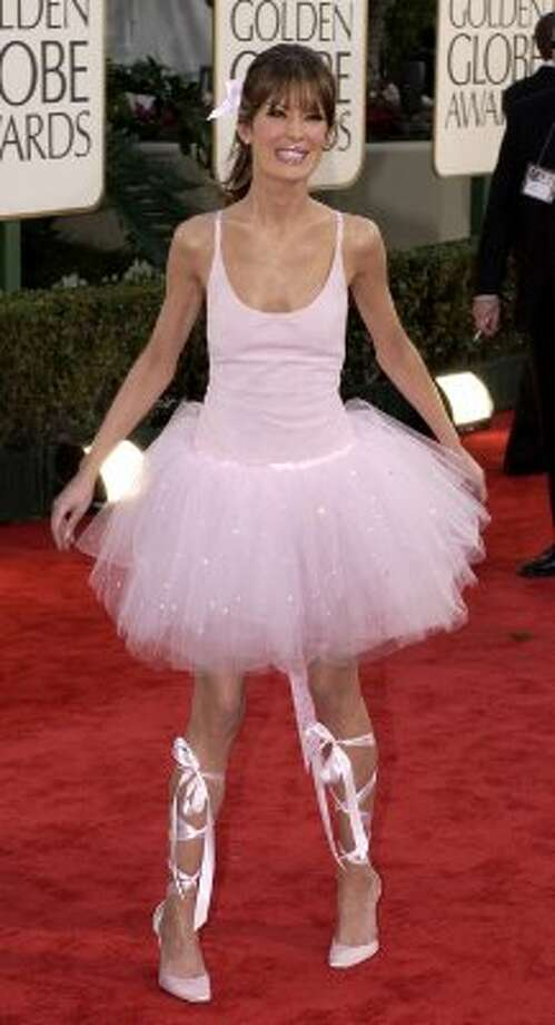 Lara Flynn Boyle stopped at the Disney store on the way to the Golden Globes in 2003. How else to explain this ballerina disaster? It was just, well, tutu much. (AP Photo/Mark J. Terrill) (AP)