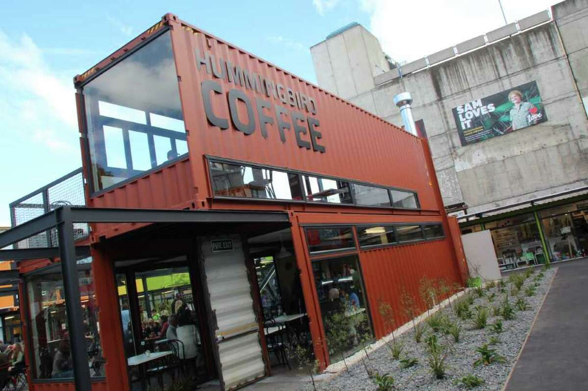 A two-story coffee shop is part of the rebuilt City Mall in Christchurch in which most of the 27 shops are built from cargo shipping containers. Cashel Street had been the site of the former pedestrian City Mall, but all the businesses had to be demolished after the Feb. 22, 2011, earthquake.