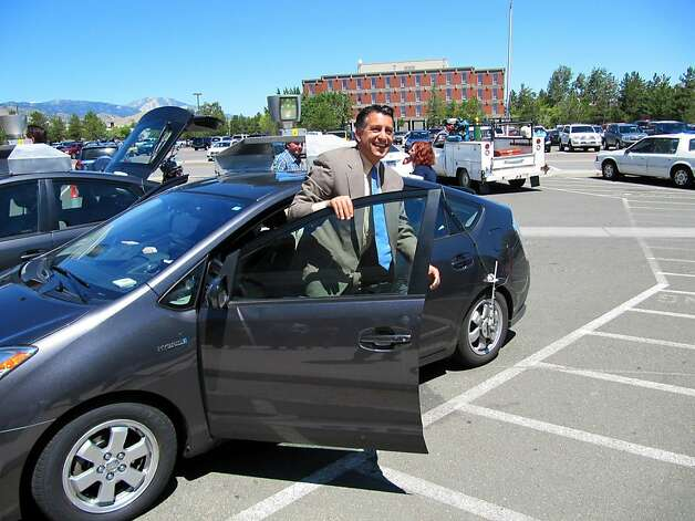 "Nevada Governor Brian Sandoval takes a spin in an driverless car Wednesday, July 20, 2011 in Carson City, Nev. Sandoval describes the experience as ""amazing."" The governor took the test run with a Google engineer and DMV Director Bruce Breslow. They started their trip at the DMV offices in Carson City and went north to scenic Washoe Valley, where they turned around. Photo: Sandra Chereb, AP"