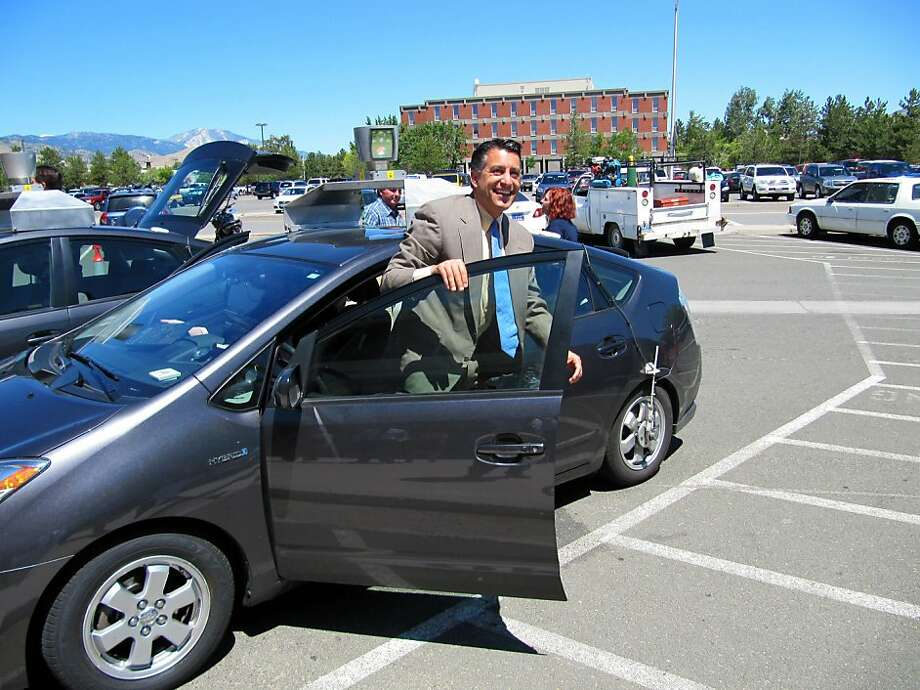 Nevada Gov. Brian Sandoval completes a July test run in a driverless car designed by Google. Photo: Sandra Chereb, AP