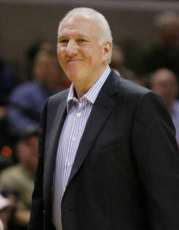 Spurs coach Gregg Popovich was more concerned with resting two of his top players than Tuesday's outcome in Portland. Photo: AP