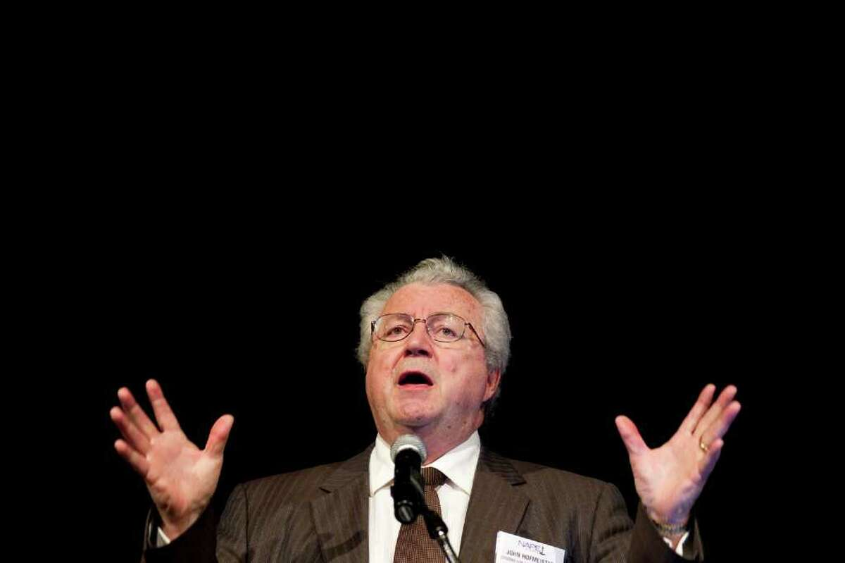 Former Shell leader John Hofmeister addresses the Winter NAPE Conference on Wednesday. He said the nation has to adopt a more aggressive drilling policy and criticized the White House, saying,