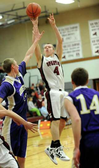 Jayson Sullivan of Burnt Hills goes up for a jump shot during a basketball game against Johnstown We