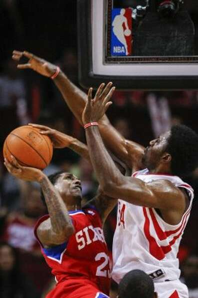 Rockets power forward Patrick Patterson (54) tries to make a block on Philadelphia 76ers point guard