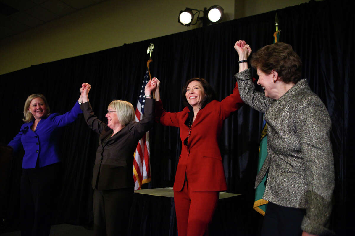 From left, U.S. Senator Mary Landrieu, Sen. Patty Murray, Sen. Maria Cantwell and Sen. Jeanne Shaheen gather on stage during Senator Maria Cantwell's 2012 Women of Valor Awards.  Democrats had a majority in the U.S. Senate then.  With the defeat of Landrieu and other senators, they hold only 48 Senate seats to 52 for the Republicans. .