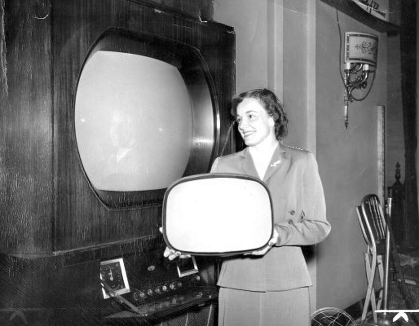 July 17, 1950: The first big screen television is displayed at a trade show in Chicago. They were produced at a rate of five per day, were 30'' and cost $1,000. Sixty-two years later you can buy a 52'' high definition TV for the same price. (Wide World Photo)