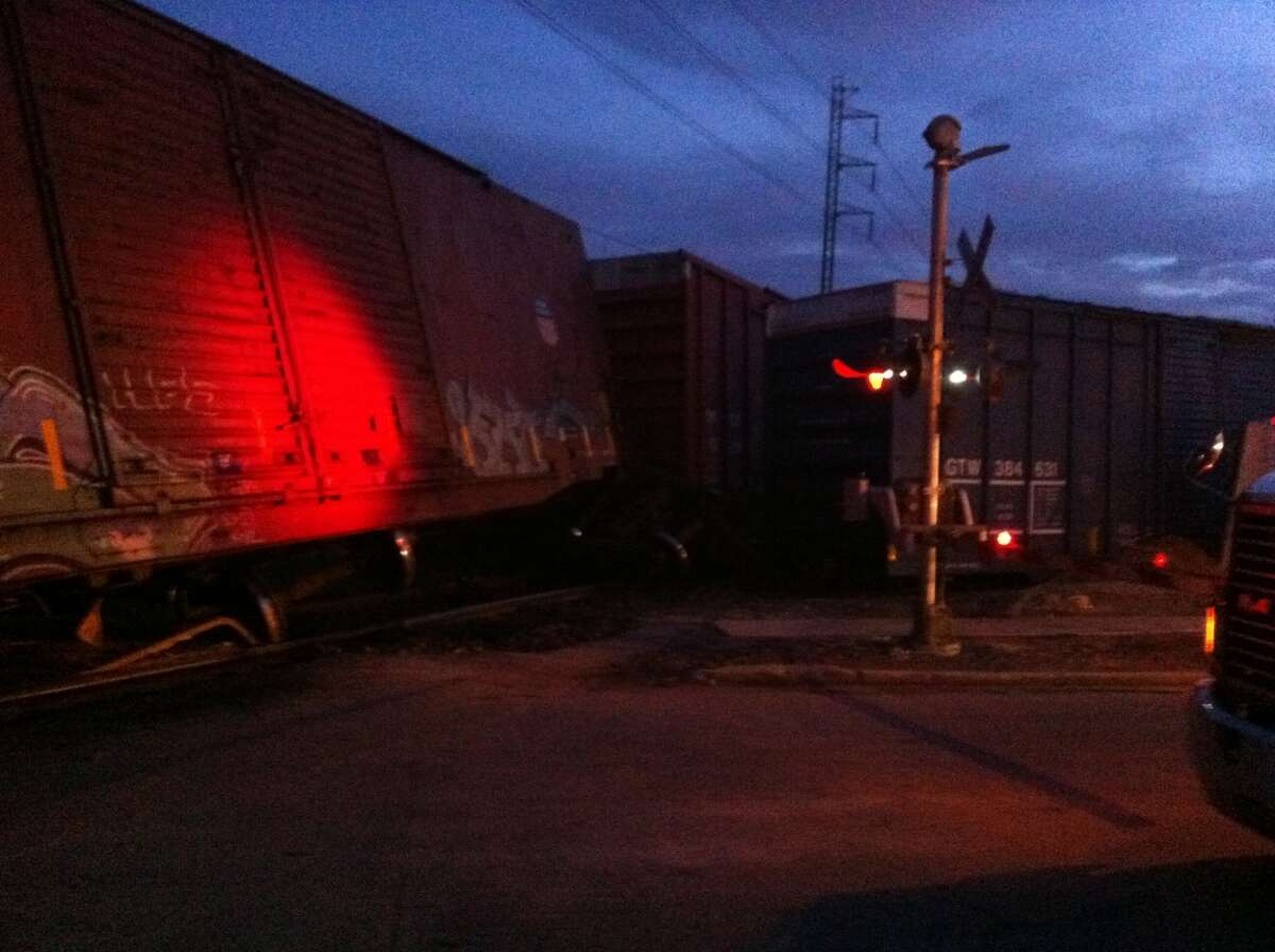 A train derailed early Thursday, blocking traffic at several streets just north of downtown.