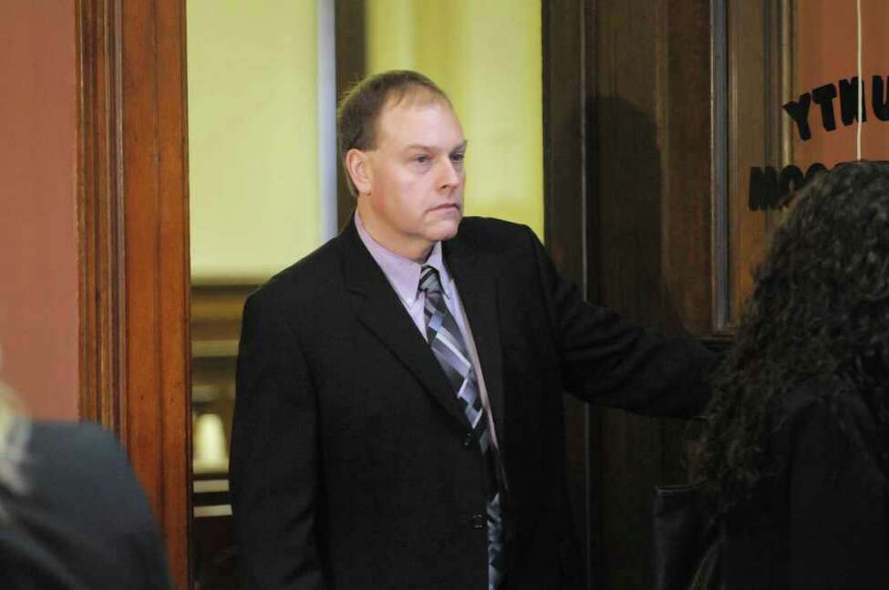 Edward McDonough leaves Rensselaer County Court following a delay in his ballot fraud case on Thursday, Feb. 23, 2012 in Troy, NY. (Paul Buckowski / Times Union archive)